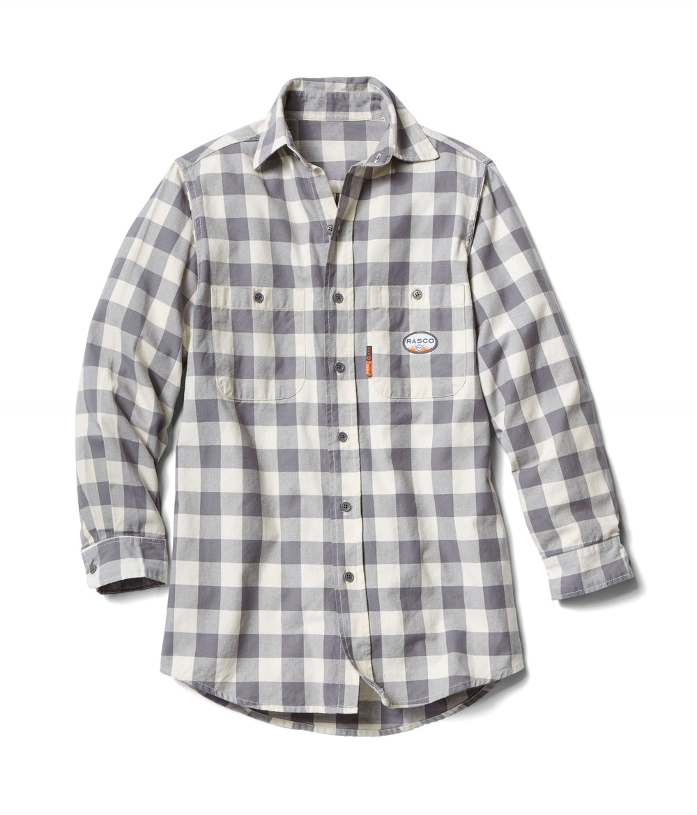 Gray & White Long Sleeve FR Plaid Shirt