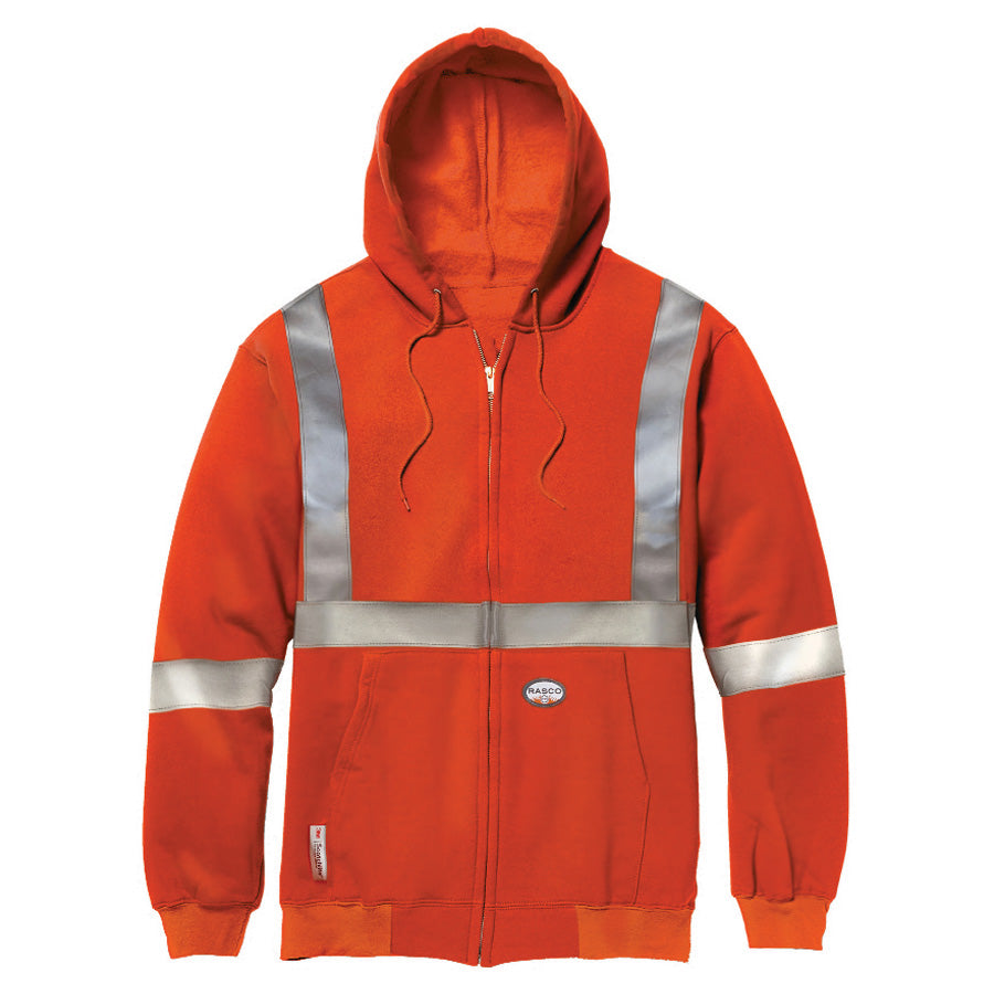 Rasco FR Orange Hi Vis Class 2 Level 2 Zip up hoodie with removable hood FR7119OH