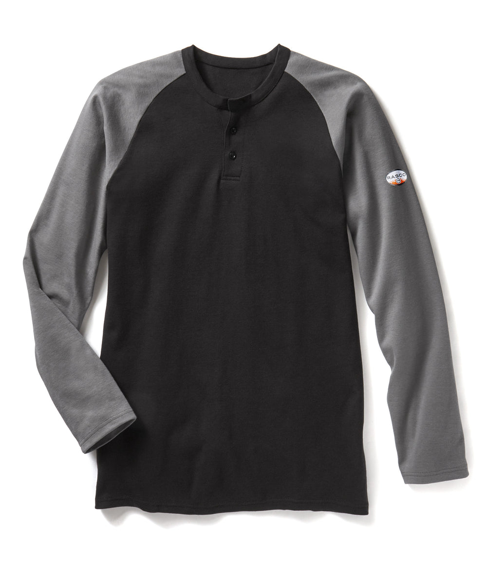 Gray-Black Long Sleeve FR Two-Tone Henley T Shirt