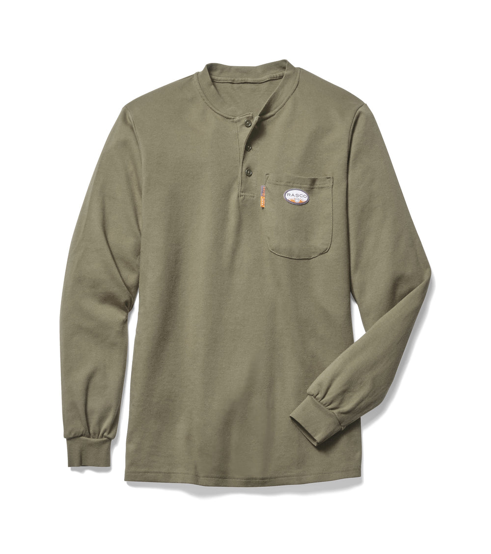 Khaki Long Sleeve FR Henley T Shirt