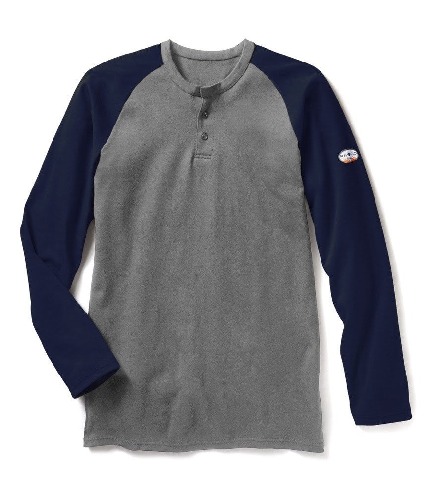 Navy-Gray Long Sleeve FR Two-Tone Henley T Shirt