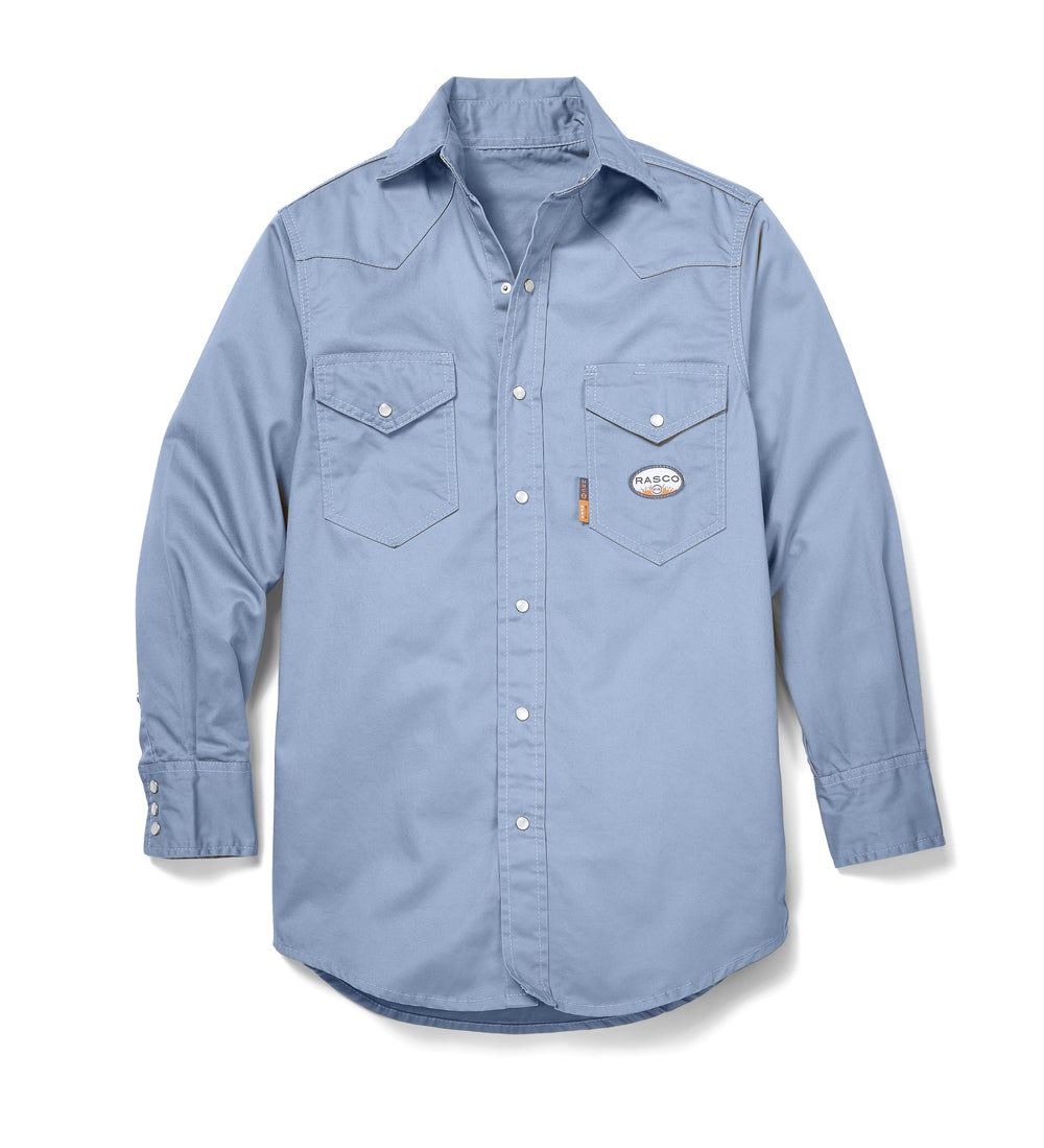 Work Blue Long Sleeve FR Uniform Shirt