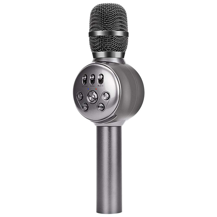 BONAOK Wireless Bluetooth Karaoke Microphone with Dynamic LED Light, Portable Handheld Magic Sound Karaoke Mic Home Party Birthday for iPhone/Android/iPad/PC/Sony (Gray)