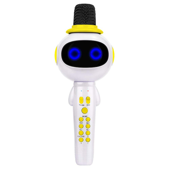 BONAOK Kids Wireless Bluetooth Karaoke Microphone with Magic Sound & Colorful LED light, 5 in 1 Portable Handheld Party Karaoke Speaker Machine New Year Gift for Android/iPhone/iPad/PC (Yellow)