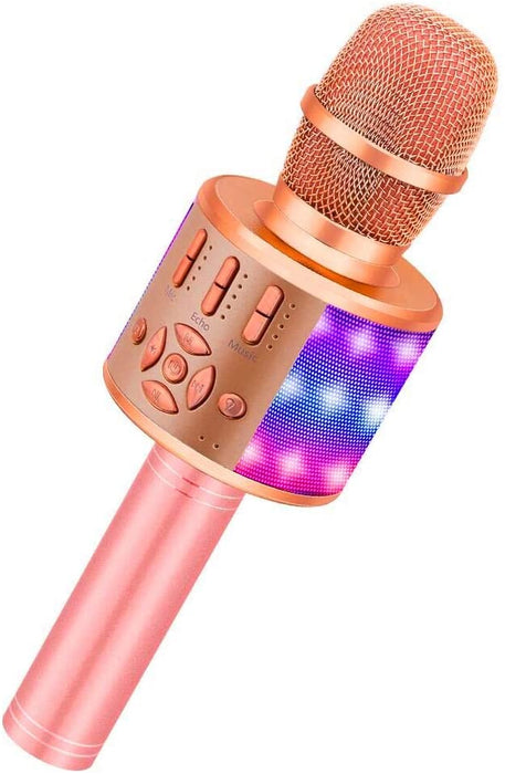 BONAOK Wireless Bluetooth Karaoke Microphone with LED Lights, Rechargeable Handheld Mic & Speaker, Recording Singing Machine for Kids Boys Girls Adults(868 Rose Gold Plus)