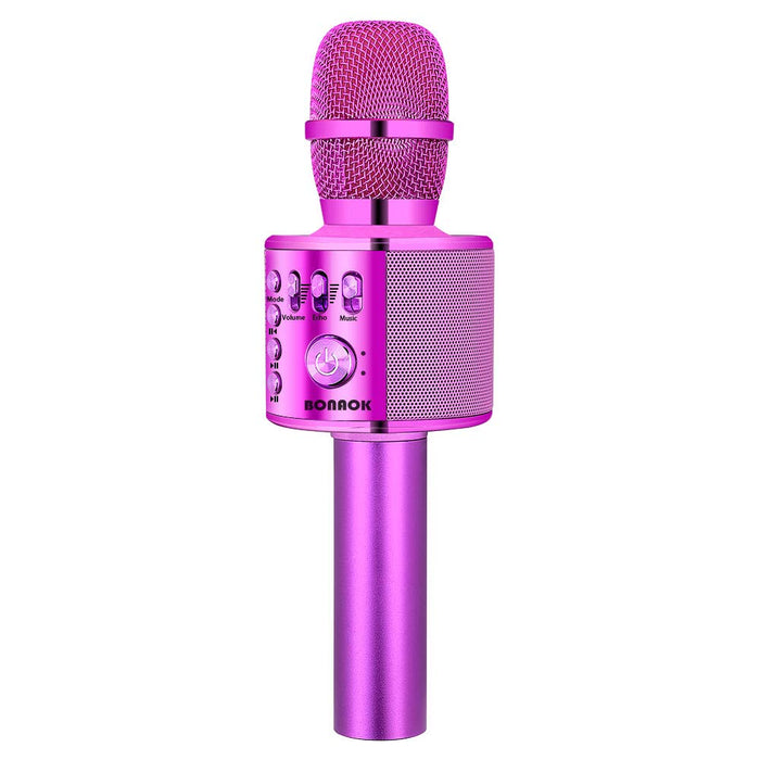 BONAOK Wireless Bluetooth Karaoke Microphone,3-in-1 Portable Handheld karaoke Mic Speaker Machine Christmas Birthday Home Party for Android/iPhone/PC or All Smartphone(Q37 Purple)