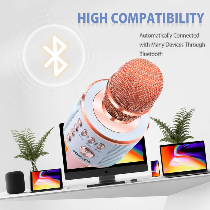 BONAOK Wireless Bluetooth Karaoke Microphone,3-in-1 Magic Sound Portable Handheld Karaoke Mic Speaker Machine Home Party Birthday for iPhone/Android/iPad/Sony/PC/All Smartphone(Rose Gold)