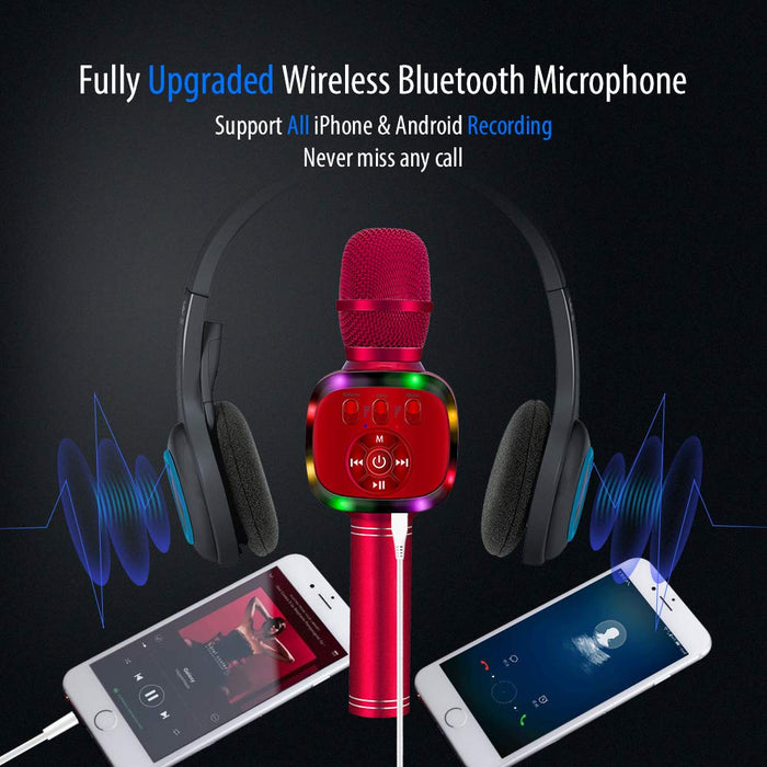 BONAOK Wireless Bluetooth Karaoke Microphone with Dual Sing, LED Lights, Portable Handheld Mic Speaker Machine for iPhone/Android/PC/Outdoor/Birthday/Android/PC/Outdoor/Birthday/Home/Party (Red)