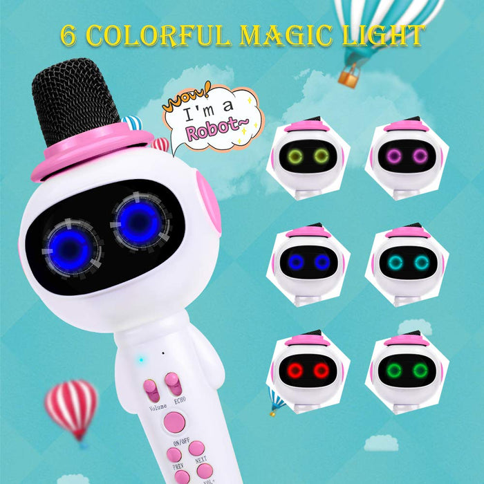 BONAOK Kids Wireless Bluetooth Karaoke Microphone with Magic Sound & Colorful LED light, 5 in 1 Portable Handheld Party Karaoke Speaker Machine New Year Gift for Android/iPhone/iPad/PC (Pink)