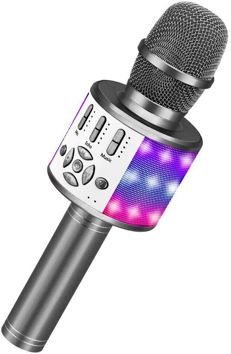 BONAOK Wireless Bluetooth Karaoke Microphone with LED Lights, Rechargeable Handheld Mic & Speaker, Recording Singing Machine for Kids Boys Girls Adults(868 Space Gray)