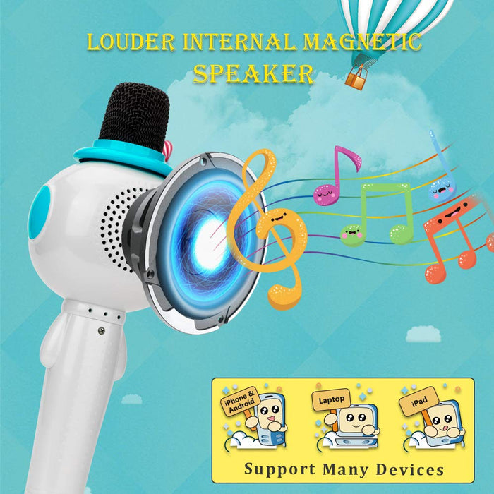 BONAOK Kids Wireless Bluetooth Karaoke Microphone with Magic Sound & Colorful LED light, 5 in 1 Portable Handheld Party Karaoke Speaker Machine New Year Gift for Android/iPhone/iPad/PC (Blue)