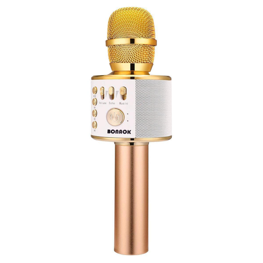 BONAOK Wireless Bluetooth Karaoke Microphone,3-in-1 Portable Handheld karaoke Mic Speaker Machine Christmas Birthday Home Party for Android/iPhone/PC or All Smartphone(Q37 Golden)