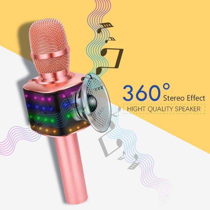 BONAOK Wireless Bluetooth Karaoke Microphone with Flashing Dancing Lights & USB Disco Ball Light, 4 in 1 Portable Bluetooth Karaoke Machine Home Party Speaker for Android/iPhone/iPad/PC (Pink)