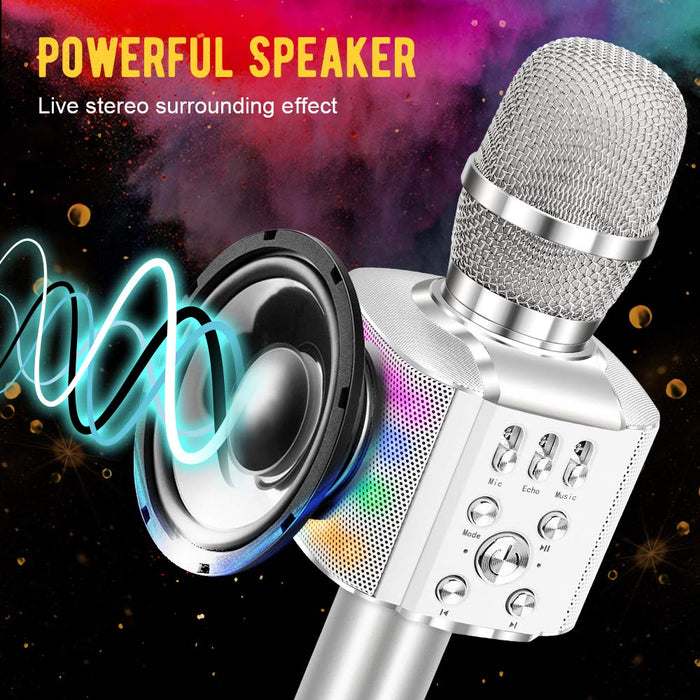 BONAOK Wireless Bluetooth Karaoke Microphone with controllable LED Lights, 4 in 1 Portable Karaoke Machine Speaker for Android/iPhone/PC(Silver)
