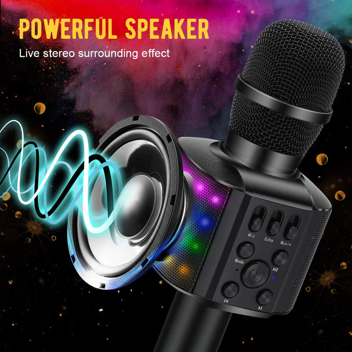 BONAOK Wireless Bluetooth Karaoke Microphone with controllable LED Lights, 4 in 1 Portable Karaoke Machine Speaker for Android/iPhone/PC(Black)