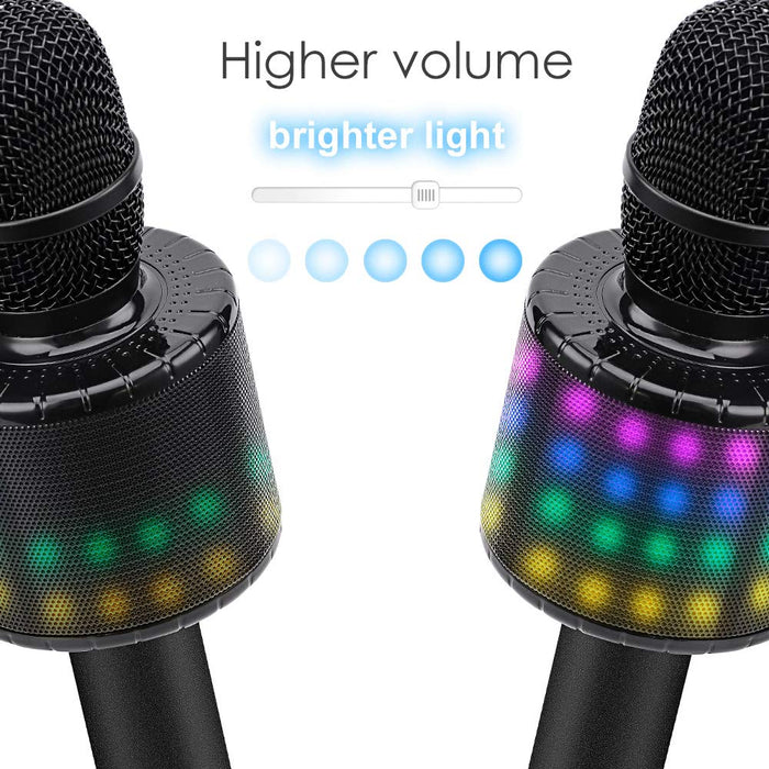 BONAOK Wireless Bluetooth Karaoke Microphone with Controllable LED Lights, Portable Handheld Karaoke Speaker Machine Birthday  Home Party for Android/iPhone/PC or All Smartphone(Q78 Black)
