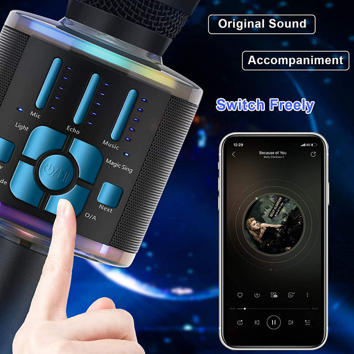 BONAOK 2020 Wireless Bluetooth Karaoke Microphone, Magic Voice Portable Handheld Mic Karaoke Machine Christmas Home Party Birthday Presentations for iPhone/Android/iPad/PC/All Smartphones (Blue)