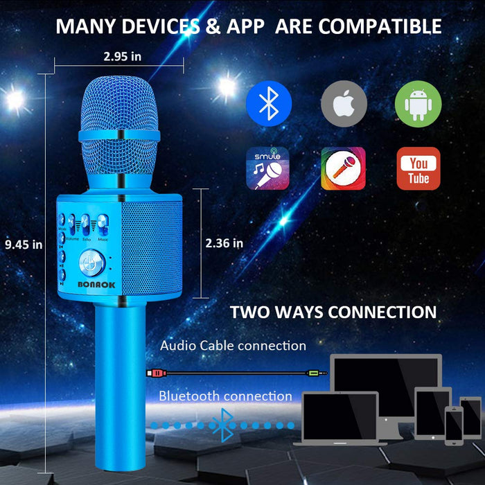 BONAOK Wireless Bluetooth Karaoke Microphone,3-in-1 Portable Handheld Karaoke Mic Speaker Machine Home Party Birthday for iPhone/Android/iPad/Sony/PC/All Smartphone(Q37 Blue)