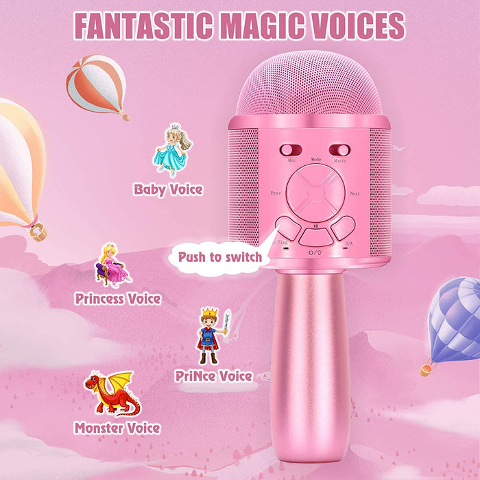 BONAOK Karaoke Microphone for Kids, Portable Wireless Bluetooth Singing Mic with Flashing Lights & Magic Voices, Fun for Girls and Boys Home Party Birthday Christmas (Pink)