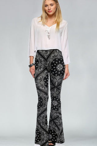 Bandana Print Bell Bottom Pants