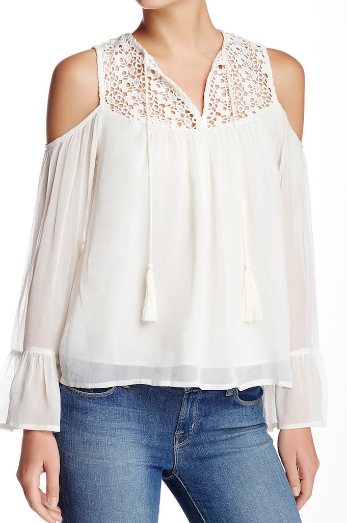 Lace Trim Cold Shoulder Top - White