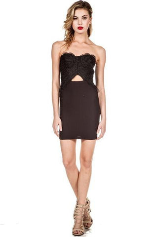 Laced Bustier Mini Dress - Black