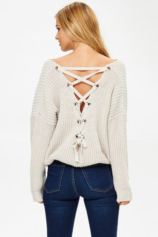 Back Lace Up Detail Sweater - Light Grey