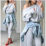 Zippered Off Shoulder Jumpsuit   - FINAL SALE - Grey