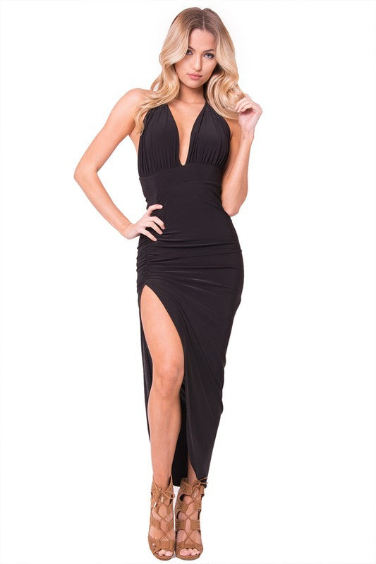 High Slit Halter Maxi Dress - Black