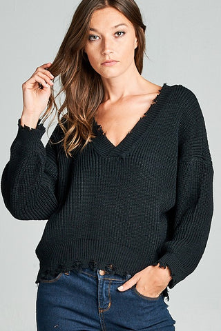 Frayed V-Neck Sweater - Black