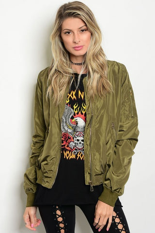 Too Cool for School Bomber Jacket - Olive