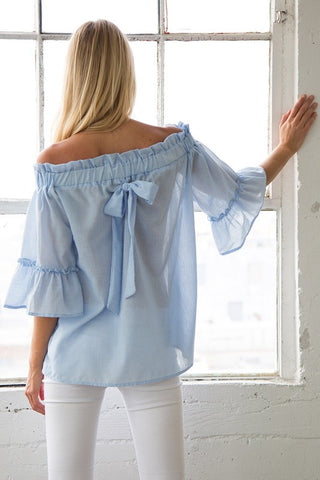 Off Shoulder Back Bow Top - preorder