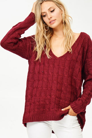 V Neck Cable Knit Sweater - Wine