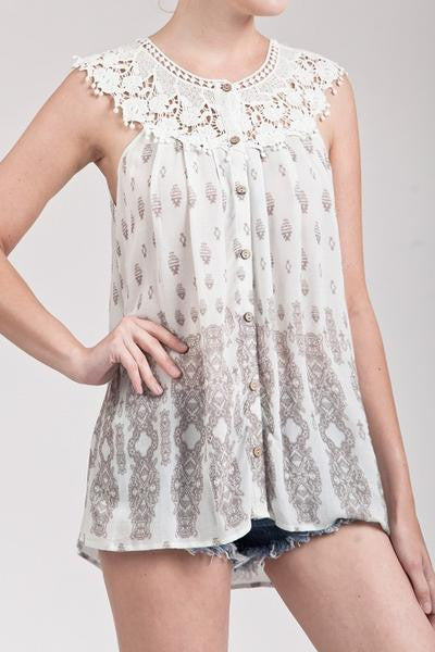 Crochet Detail Buttoned Top - Ivory/Taupe