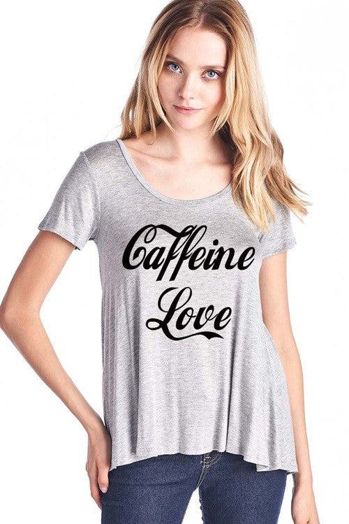 Caffeine Graphic Top - Grey-FINAL SALE