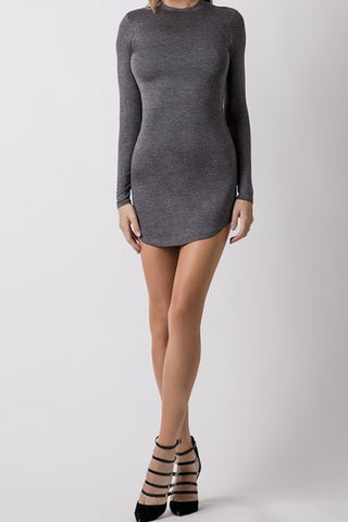 Sleek T-Shirt Dress - Grey