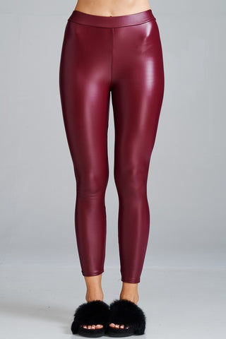 Coated Leggings - Red