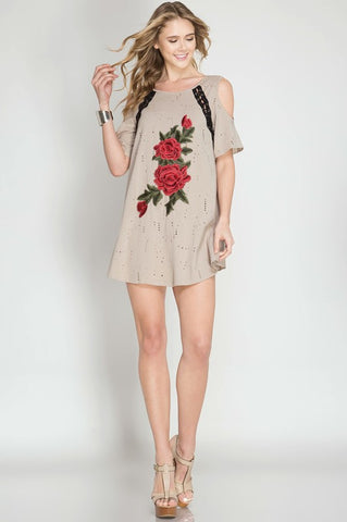 Flower Patch Distressed Shirt Dress