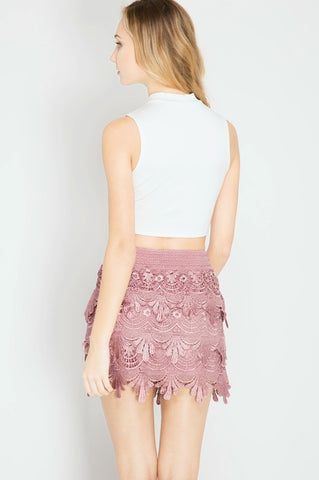 Crochet Mini Skirt - Pink