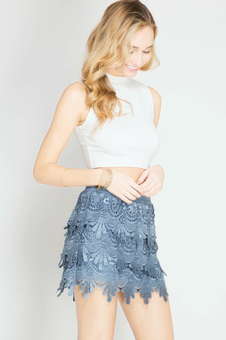 Crochet Mini Skirt - Blue