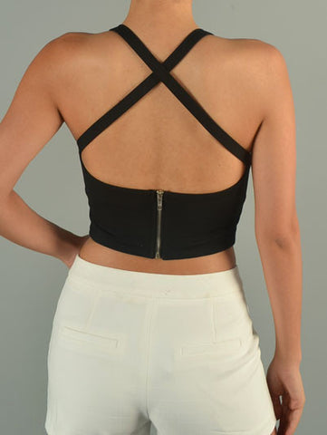 Cross Straps Crop Top - Black