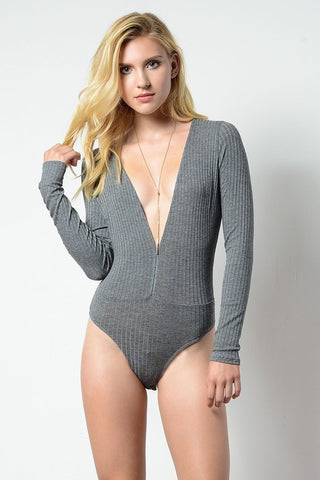 Deep V Ribbed Bodysuit (more colors)