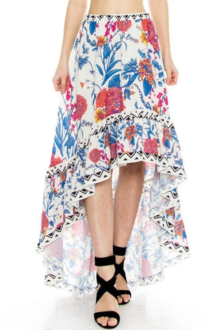 Flower Print High Low Skirt