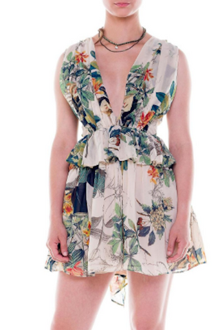 Cross Back  Leaf Print Flare Dress