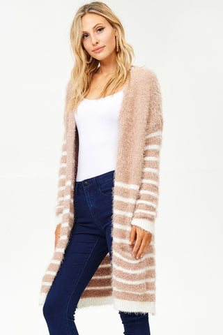 Furry Knit Cardigan - Cocoa