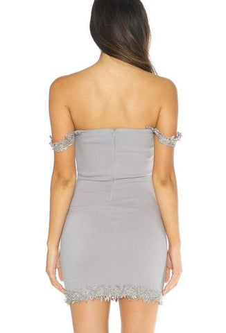 Crochet Trim Strapless Mini Dress - Grey
