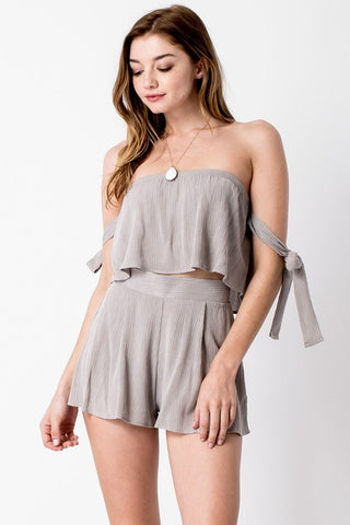 Tied on Two-Piece Set - Grey