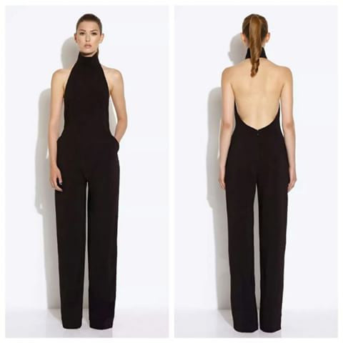 Halter Open Back Jumpsuit - Black