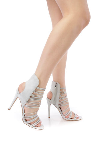 West Coast Strappy Heels - Grey- FINAL SALE