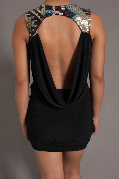 Sequin Back Draped Dress